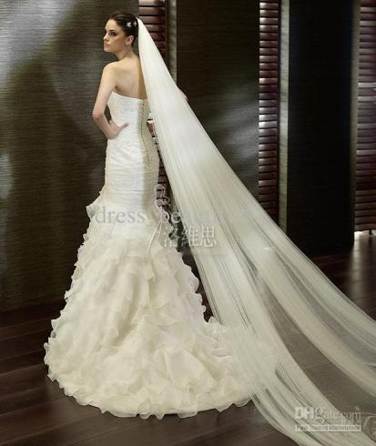 Famous brides throughout recent history their veils for Long veils for wedding dresses